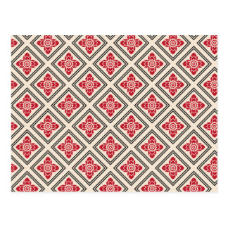 Red Chinese floral pattern Postcard