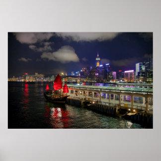 Red Chinese Junk in Hong Kong at Night Poster