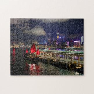 Red Chinese Junk in Hong Kong at Night Puzzle