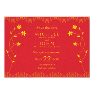 Red Chinese Themed Floral Save The Date Card
