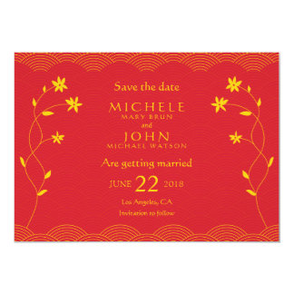 "Red Chinese Themed Floral Save The Date Card 5"" X 7"" Invitation Card"