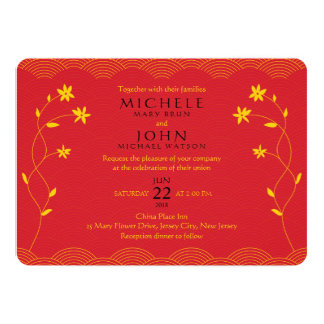 "Red Chinese Themed Floral Wedding Invitation 5"" X 7"" Invitation Card"
