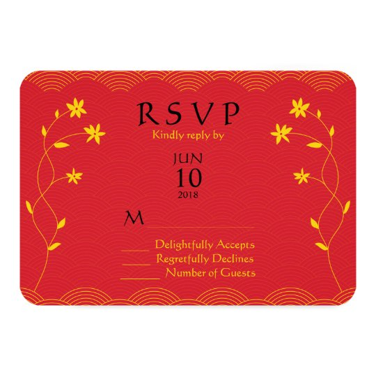 Red Chinese Themed Floral Wedding Response Card