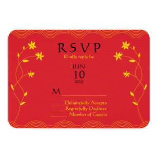 Red Chinese Themed Floral Wedding Response Card Announcement