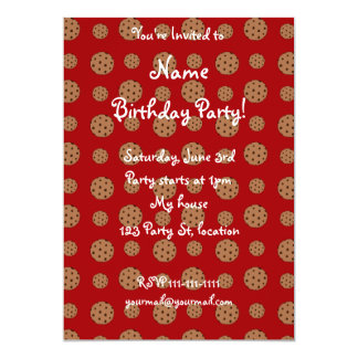 Red chocolate chip cookies pattern 13 cm x 18 cm invitation card