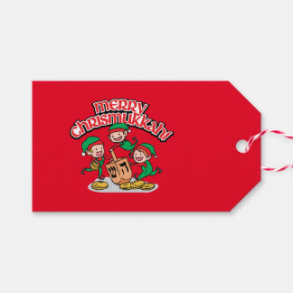 Red Chrismukkah Gift Tags with Elves & Dreidels