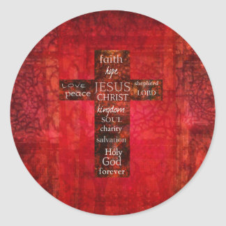 Red Christian Cross Contemporary Religious Art Classic Round Sticker