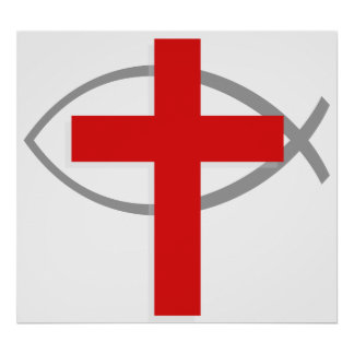 Red Christian Cross With the Jesus Fish Ichthys Poster