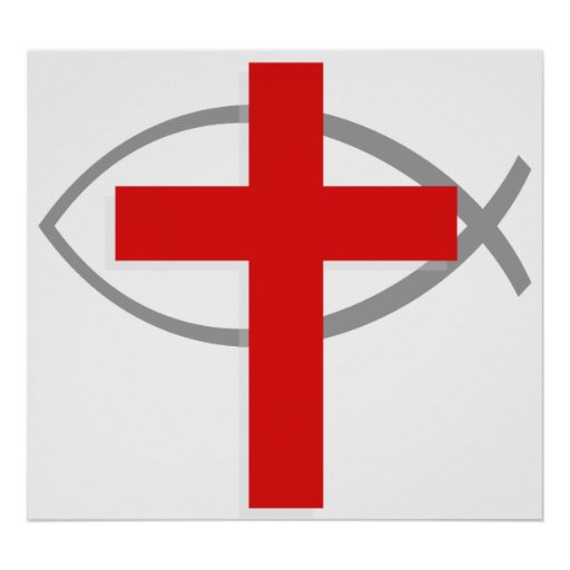 Red Christian Cross With the Jesus Fish Ichthys Posters