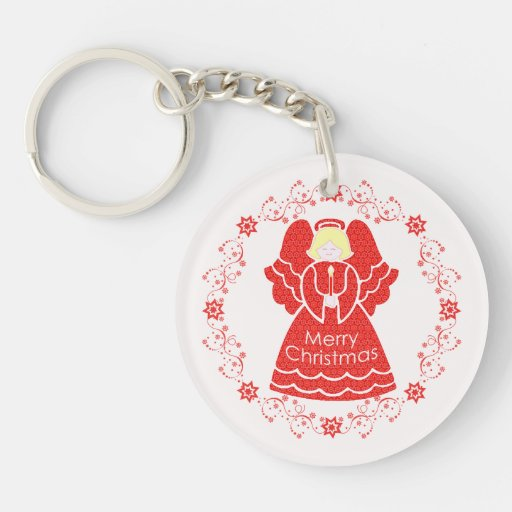 Red Christmas Angel Acrylic Keychains