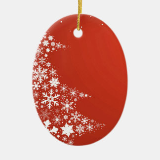 Red Christmas Background Ceramic Oval Decoration