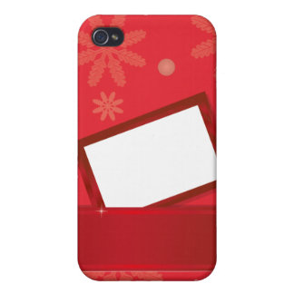 red christmas background with greeting card cover for iPhone 4
