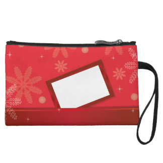 red christmas background with greeting card pictur wristlet clutch