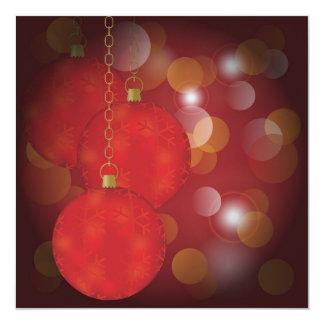 Red Christmas Balls 13 Cm X 13 Cm Square Invitation Card