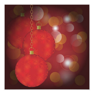 "Red Christmas Balls 5.25"" Square Invitation Card"
