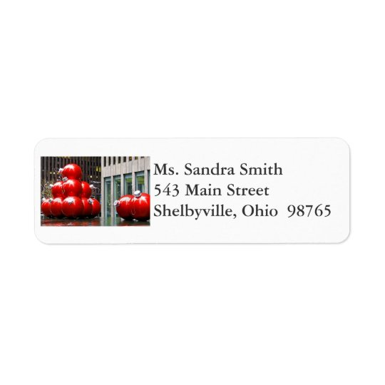 Red Christmas Balls Return Address Labels