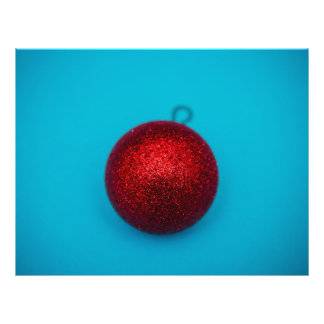 Red Christmas bauble on a blue background 21.5 Cm X 28 Cm Flyer