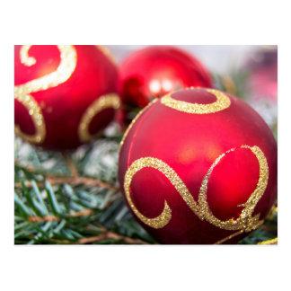 Red christmas baubles.jpg postcard
