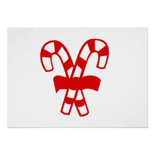 Red Christmas Candy Canes Print