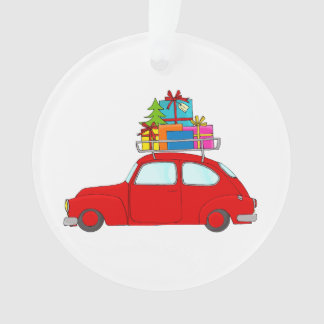 Red Christmas car towing tree Ornament