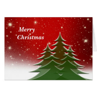 Red Christmas Card with Christmas Trees