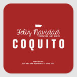 Red Christmas Coquito Square Stickers