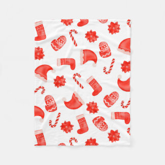 Red Christmas Cute Pattern Holiday Fleece Blanket