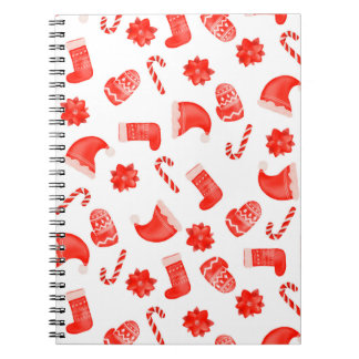 Red Christmas Cute Pattern Holiday Notebook