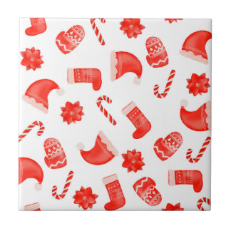 Red Christmas Cute Pattern Holiday Tile