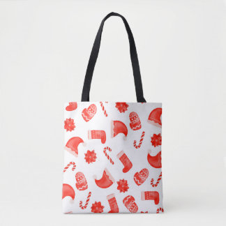 Red Christmas Cute Pattern Holiday Tote Bag