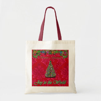 Red Christmas Damask Joy to the World Bag