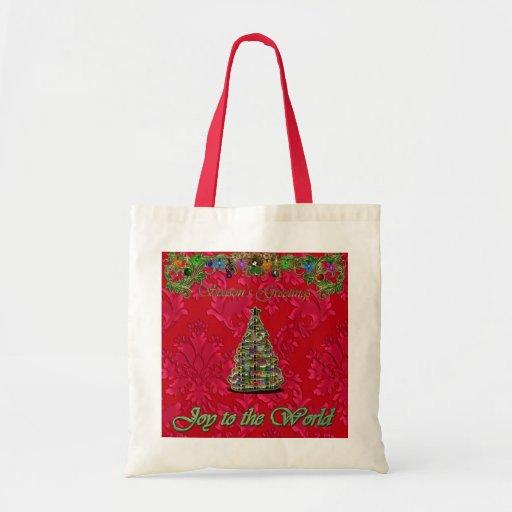 Red Christmas Damask Joy to the World Bag