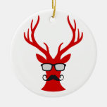 Red Christmas deer with moustache and nerd glasses