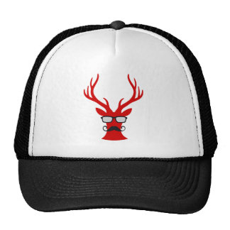 Red Christmas deer with mustache and nerd glasses Trucker Hat