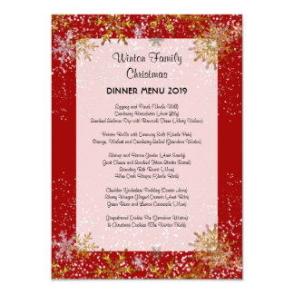 Red Christmas Dinner Menu Gold Snowflakes Card