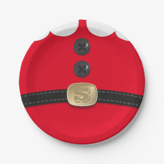 Red Christmas Elf Monogram Holiday Party 7 Inch Paper Plate