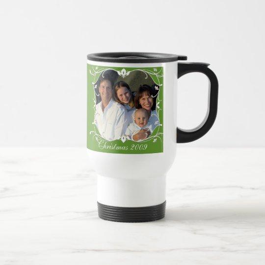 Red Christmas Family Photo Stainless Travel Mug