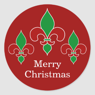 Red Christmas Fleur de Lis Stickers