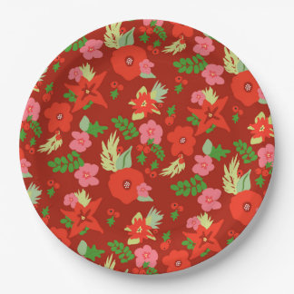 Red Christmas Flora Paper Plates