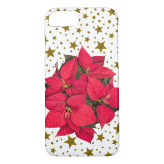 Red Christmas flower and sparkly gold stars iPhone 7 Case