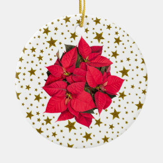 Red Christmas flower and sparkly gold stars Round Ceramic Decoration