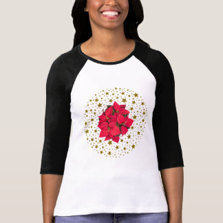 Red Christmas flower and sparkly gold stars T-Shirt