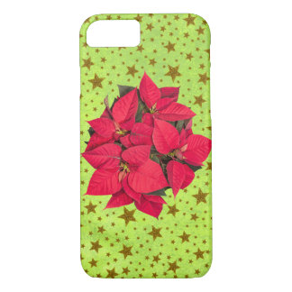 Red Christmas flower, gold stars on abstract green iPhone 7 Case