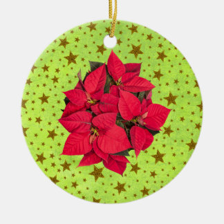 Red Christmas flower, gold stars on abstract green Round Ceramic Decoration