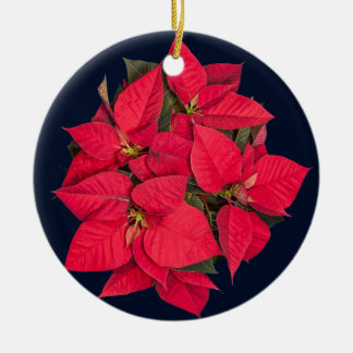Red Christmas flower on blue Round Ceramic Decoration