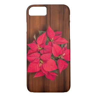 Red Christmas flower on brown iPhone 7 Case