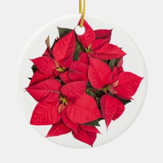 Red Christmas flower Round Ceramic Decoration