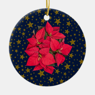 Red Christmas flower, sparkly gold stars on blue Christmas Ornament