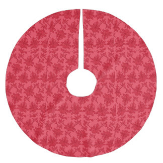 Red Christmas Flowers Christmas Brushed Polyester Tree Skirt