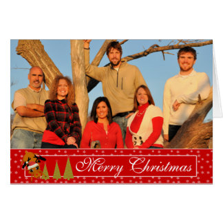 Red Christmas funny Reindeer Holiday Card
